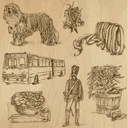 Traveling series  HUNGARY  set no 1  - Collection of hand drawn illustrations  originals, no tracing  into vector collection  Ilustracja