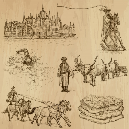 Traveling series  HUNGARY  set no 2  - Collection of hand drawn illustrations  originals, no tracing  into vector collection