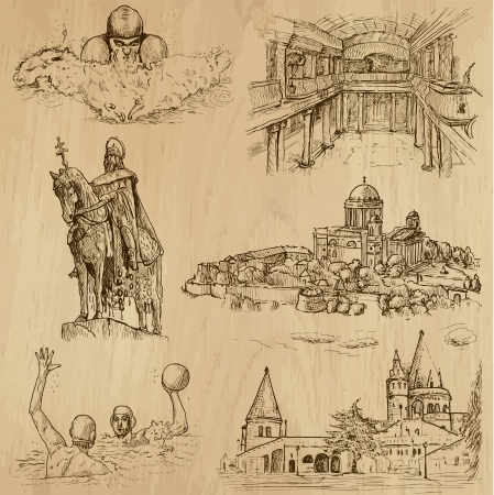 king s: Traveling series  HUNGARY  set no 3  - Collection of hand drawn illustrations  originals, no tracing  into vector collection