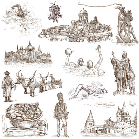 Traveling series  HUNGARY, part 2 - Collection of an hand drawn illustrations  illustration