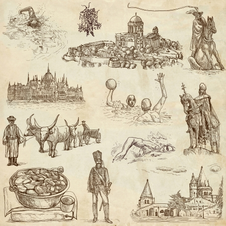 goulash: Traveling series  HUNGARY, part 2 - Collection of an hand drawn illustrations on old paper Stock Photo