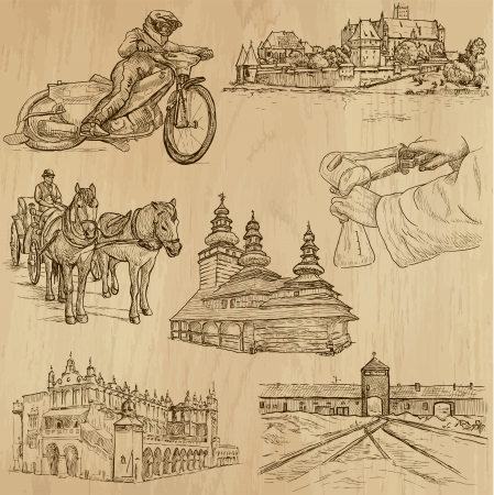 Traveling series  POLAND  set no 1  - Collection of hand drawn illustrations  originals, no tracing  into vector collection