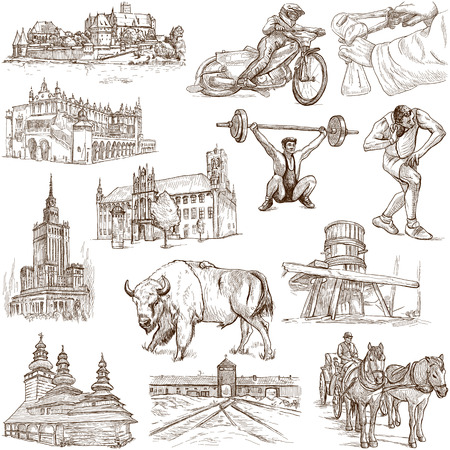 Traveling series  POLAND - Collection of an hand drawn illustrations  illustration