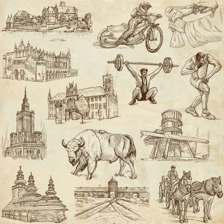 customs and habits: Traveling series  POLAND - Collection of an hand drawn illustrations on old paper