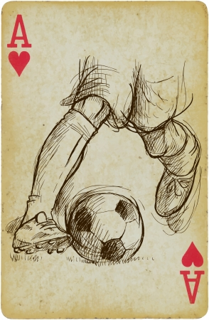 multilayer: Skills in football  SOCCER  - Description  Multilayer drawing  each on a separate layer  on vintage card  the card is separated in the lower layer   Illustration