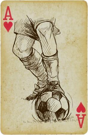 Umiejętności w piłka nożna - Opis Wielowarstwowa rysunek każdy na osobnej warstwie na vintage karty karta jest oddzielona w dolnej warstwie