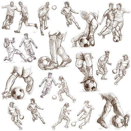 FOOTBALL - Soccer  Collection of an hand drawn illustrations Reklamní fotografie - 24818825