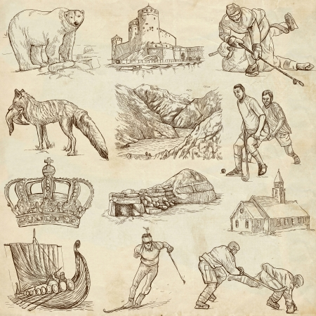 drakkar: SCANDINAVIA set no  1  Denmark, Norway, Sweden and Island  - Collection of an hand drawn illustrations on paper