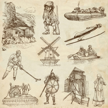 scandinavia: SCANDINAVIA set no  4  Denmark, Norway, Sweden and Island  - Collection of an hand drawn illustrations on paper