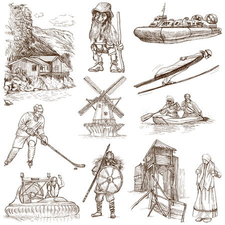 scandinavia: SCANDINAVIA set no  4  Denmark, Norway, Sweden and Island  - Collection of an hand drawn illustrations on white
