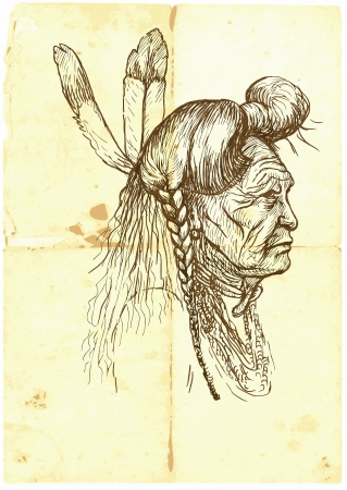 native american indian chief: Indian, portrait in profile  Hand drawn illustration