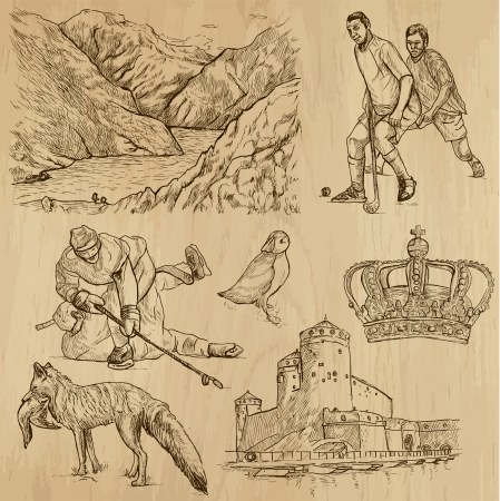 no 1: SCANDINAVIA set no 1  Denmark, Norway, Sweden and Island   Collection of hand drawn illustrations