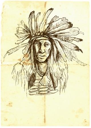 capo indiano: Indian Chief, illustrazione disegnata a mano ritratto