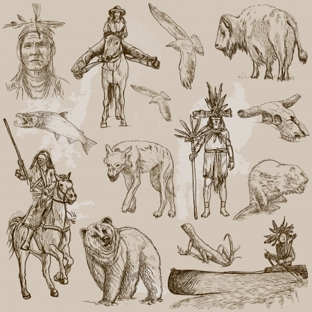 Mainly INDIANS  and Wild West as well , set no 1  Collection of hand drawn illustrations Reklamní fotografie - 25127474