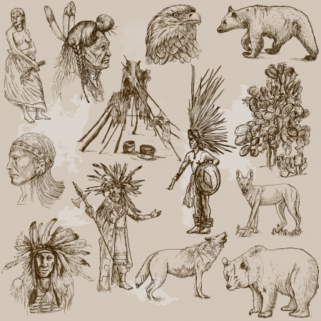 Mainly INDIANS  and Wild West as well , set no 2  Collection of hand drawn illustrations   Vector