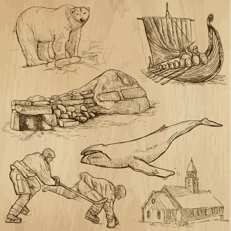 scandinavia: SCANDINAVIA set no 2  Denmark, Norway, Sweden and Island   Collection of hand drawn illustrations