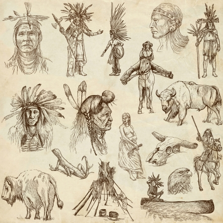 Indians and Wild West - hand drawings, originals, on old paper photo