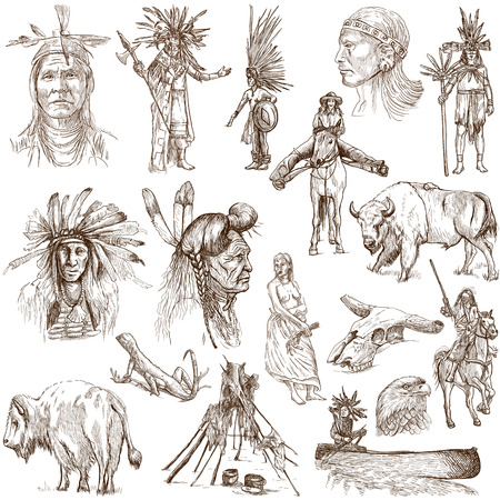 Mainly INDIANS  and Wild West as well   Collection of an hand drawn illustrations on white illustration
