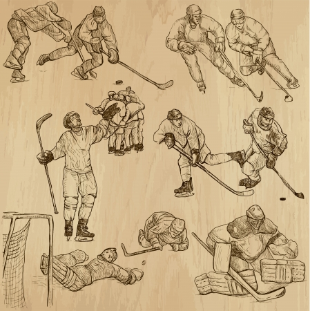 Ice Hockey 2 - hand drawings into vector set Vector