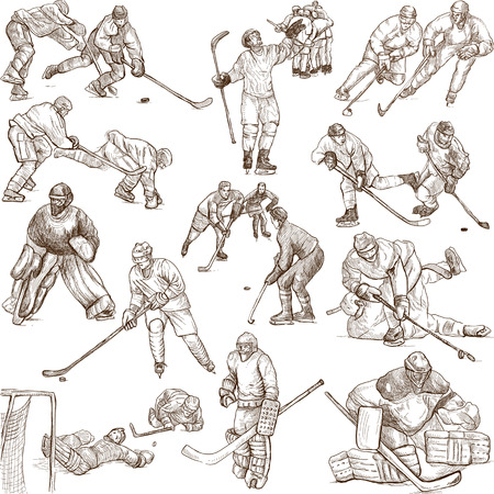 Ice hockey - An hand drawn illustrations in one big collection on white illustration