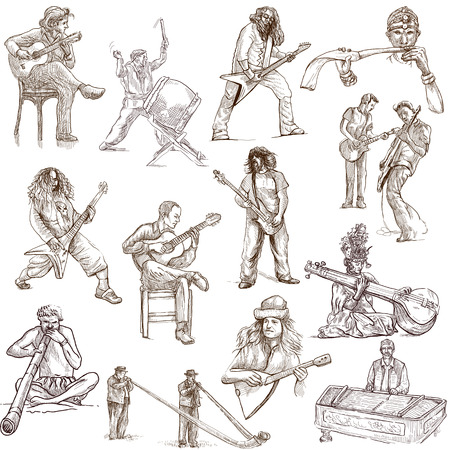 Music and Musicians around the World  set no 1, white set  - hand drawings Stock Photo