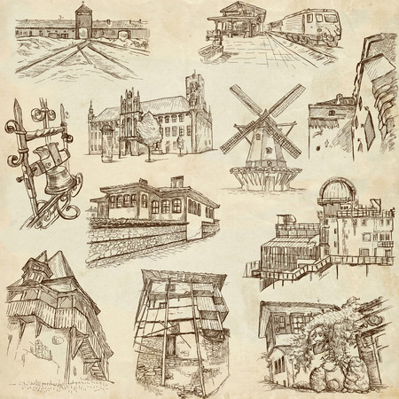 bran: Architecture 6 - An hand drawn illustrations in one big collection on old paper