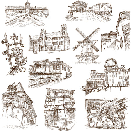 bran: Famous places, buildings and architecture around the World  set no 6, white  - hand drawings