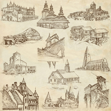 bran: Architecture 8 - An hand drawn illustrations in one big collection on old paper