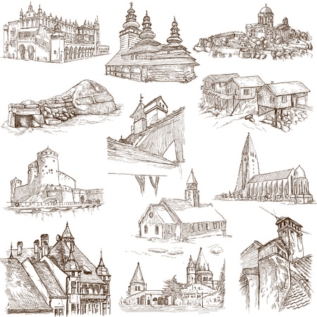 bran: Famous places, buildings and architecture around the World  set no 8, white  - hand drawings Stock Photo
