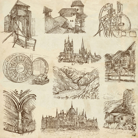 bran: Architecture 9 - An hand drawn illustrations in one big collection on old paper