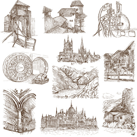 Famous places, buildings and architecture around the World  set no 9, white  - hand drawings photo
