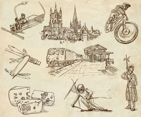 Traveling, Switzerland 2 - An hand drawn illustrations in one big collection on old paper illustration