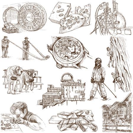 no 1: Traveling series  SWITZERLAND  no 1  - hand drawings on white