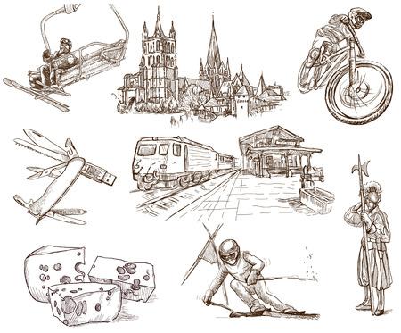 Traveling series  SWITZERLAND  no 2  - hand drawings on white