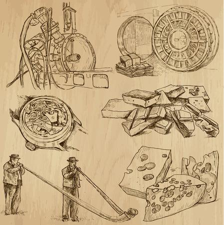 alphorn: SWITZERLAND set no 1  Hand drawn illustrations into vectors