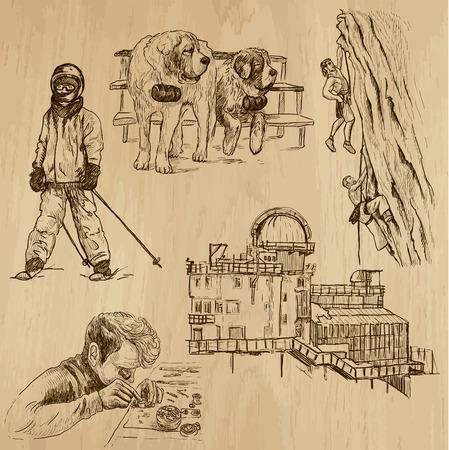alpes suizos: SUIZA fij� no 2 ilustraciones dibujadas a mano en vectores
