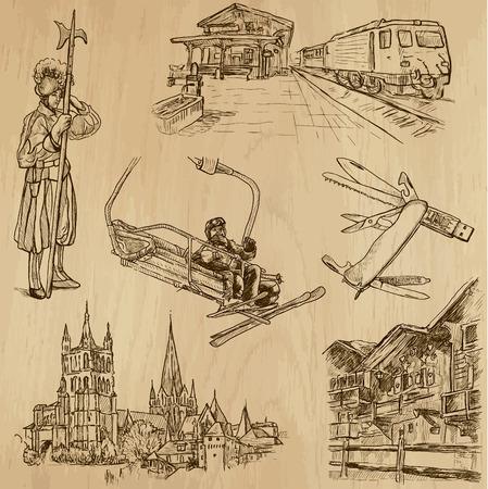 guardsman: SWITZERLAND set no 3  Hand drawn illustrations into vectors