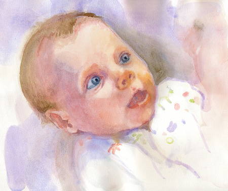 regard: Portrait of an Baby  water-colors technique, idealized portrait - without regard to a particular child