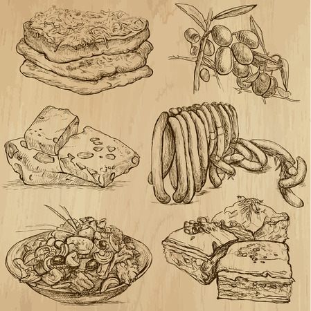 Food and Drinks_8 - Hand drawn illustrations into vector  Vector