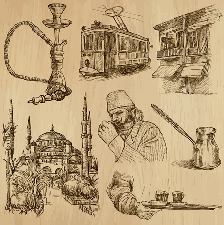Travel   TURKEY set no 3  Collection of hand drawn illustrations