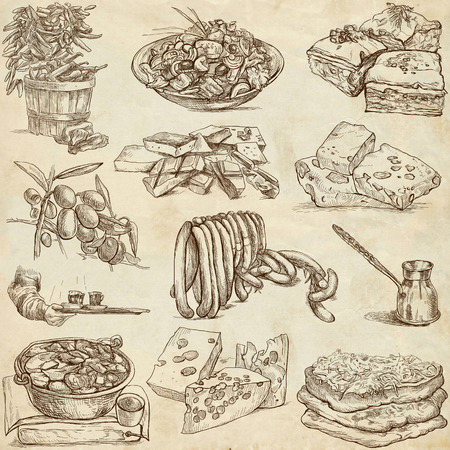 Food and Drinks_4 - hand drawings on paper  photo