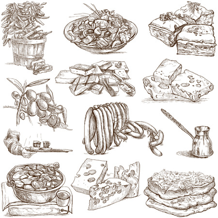Food and Drinks around the World  set no  4  - Collection of an hand drawn illustrations
