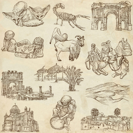 ALGERIA  Collection of full sized hand drawn illustrations on old paper illustration