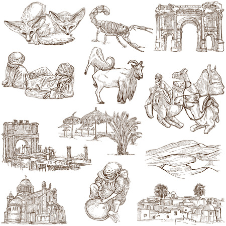 customs and habits: ALGERIA  Collection of hand drawn illustrations on white Stock Photo