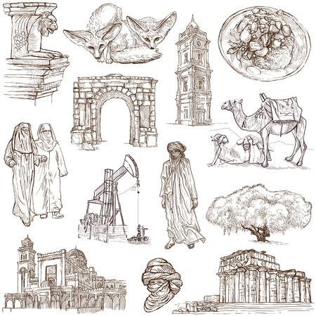 LIBYA  Collection of hand drawn illustrations on white  illustration