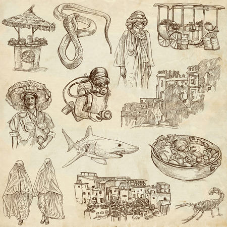 customs and habits: MOROCCO  Collection of full sized hand drawn illustrations on old paper Stock Photo
