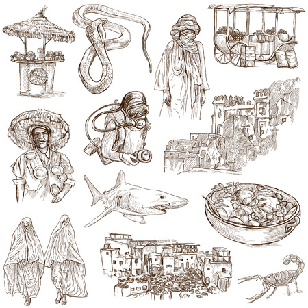 customs and habits: MORROCO  Collection of hand drawn illustrations on white