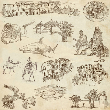customs and habits: TUNISIA  Collection of full sized hand drawn illustrations on old paper Stock Photo