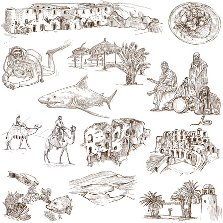 customs and habits: TUNISIA  Collection of hand drawn illustrations on white