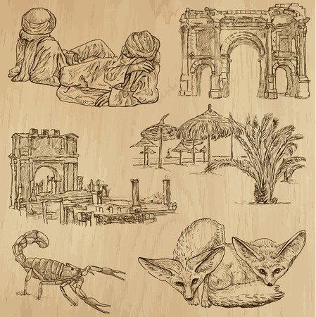 customs and habits: ALGERIA set no 1  Collection of hand drawn illustrations
